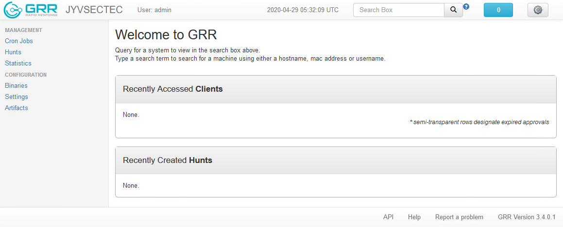 The front page of the GRR web-based user interface.