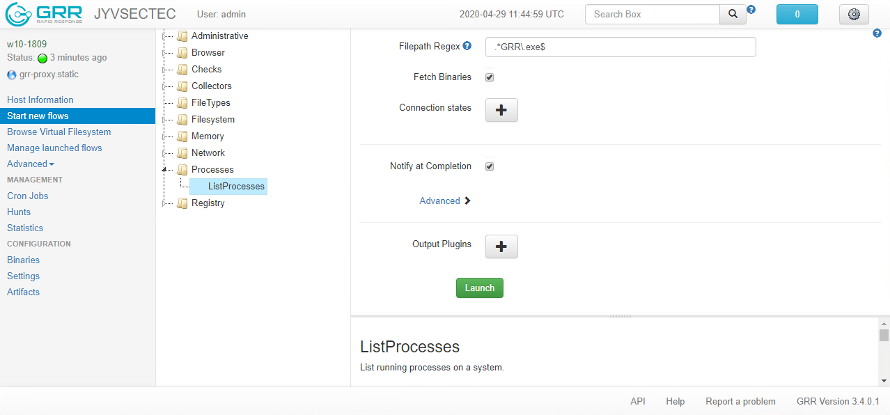 How to construct a ListProcesses flow on the web-based user interface.