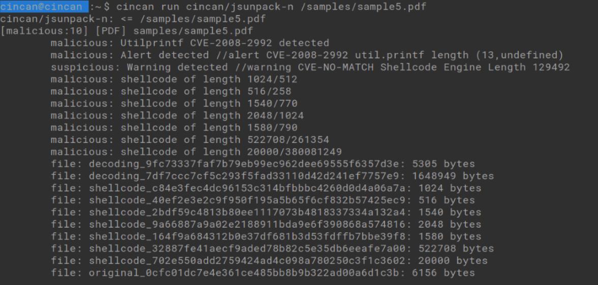 cincan run cincan/jsunpack-n /samples/sample5.pdf -command runs the Jsunpack-n tool with cincan-command, to extract shellcode from a pdf file
