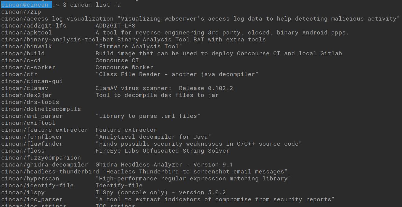 cincan list -a -command shows all available cincan-tools