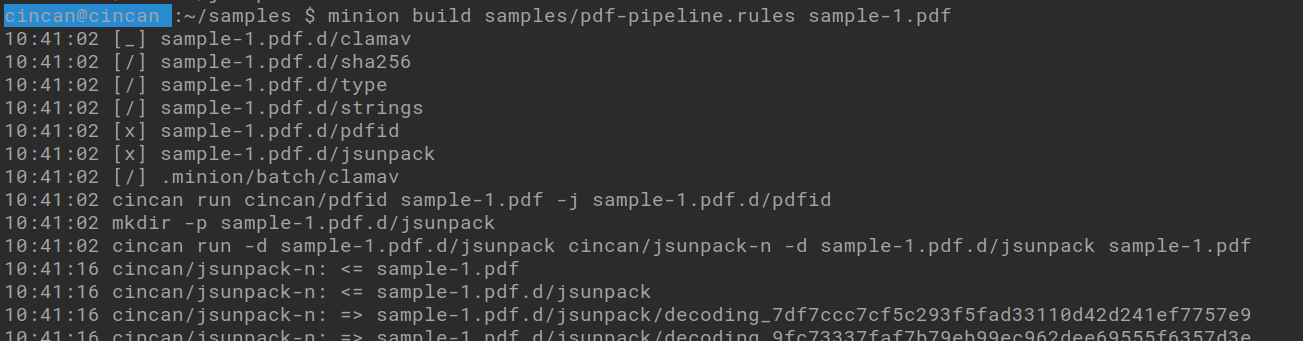 minion build samples/pdf-pipeline.rules sample-1.pdf -command analyzes pdf files with several tools together
